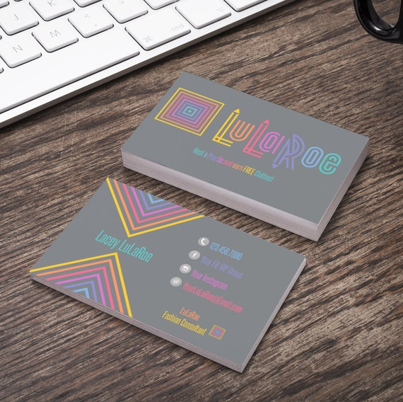 LuLaRoe Business Card Horizontal Grey Graphic By