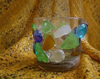 Sea Glass Candle Holder