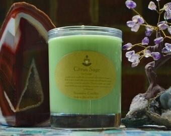 Crystal Soy Candle- 14 oz Sunstone Candles Citrus Sage