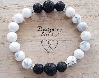Design #7, Howlite Lava Bracelet, Diffuser Bracelet, Gemstone Bracelet