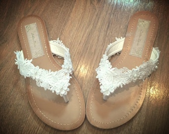 Lace Bridal Flip Flop Sandals Thongs