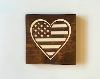 Heart Flag Wood Sign