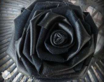 Black Leather Rose ~ Single Stem ~ Fabric Flowers ~ Build A Sustainable Bouquet ~ Steampunk ~ Evening Artisan DiY Wedding Flowers Bouquet