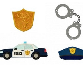 Police Badge, Police Car, Police Hat, Police Shackles Embroidery Design Pack, Instant Download, PES format