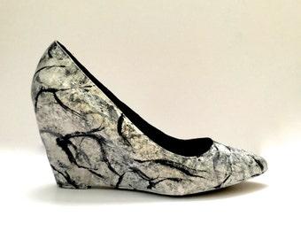MICHELANGELO'S MARBLE - Custom, Hand-Painted Wedge Heels - Art a la carte