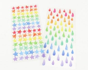 Colorful Stars/Rain Drops Stickers