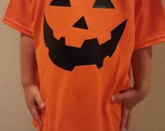 Kids pumpkin halloween shirt, orange, pumpkin face shirt