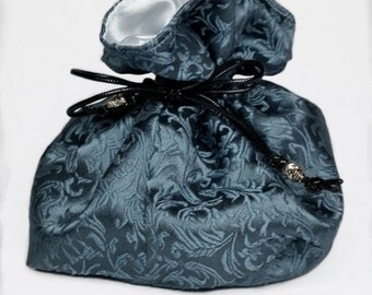 Frost Blue Scroll Brocade Kinchaku Bag with White Satin Lining