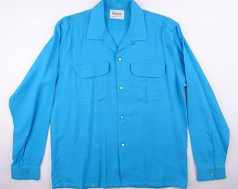 RESERVED-------1950s CAMPUS Hand Stitching Around The Collar & Flap Pockets Shiny Sky Blue Rayon Shirt - Mint