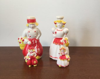 Two Sets of 1950's Vintage Plastic Red Yellow and White Dutch Salt and Pepper Shakers