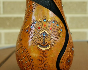 Mehndi Inspired Gourd Candle Holder / Vase