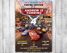Printed Disney Cars Birthday Invitations on 4x6 or 5x7 Inches 110lb/200gsm Gloss Photo Paper + FREE White Envelopes Included - CR04