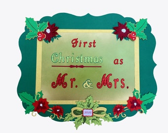 Newlyweds photo shoot sign - First Christmas as Mr. and Mrs. // holiday photo shoot sign // christmas wedding gift