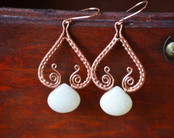 Copper wire-wrapped jade earrings