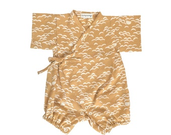Baby kimono, rompers jinbei, NAMI GOLD, fabric by Atelierbrunette