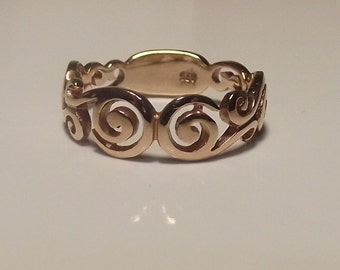 Swirly Filigree Ring, Solid Rose Gold, Asymmetrical Design, Contemporary Pattern