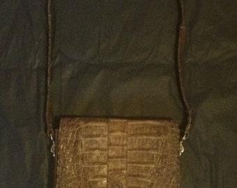 Vintage leather snake skin effect brown handbag