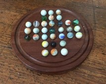 Vintage Wooden Solitaire Board with Glass Marbles - Children's Games - Traditional Toys and Puzzles - Victorian Games