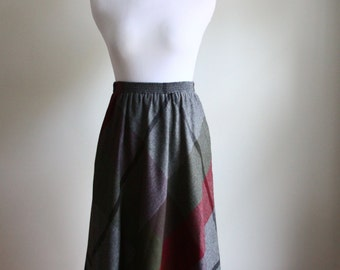 1970s Wool Plaid Midi Skirt // Vintage 70s Midi Skirt