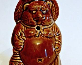 Vintage Ceramic Japanese Tanuki Sake Decanter Raccoon Dog With Oversized Scrotum