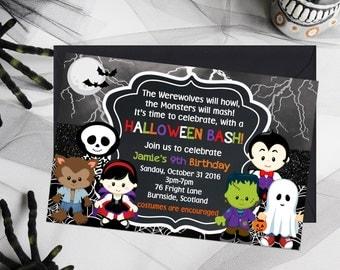 Kids Halloween Invitations, Kids Birthday Party Invitations, Halloween Birthday Invitations, Kids Party Printables, Halloween Party Invites