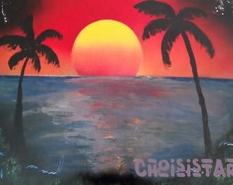 Sunset and Palm Tree Silhouette - Spray Paint Art