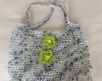 Large hand crocheted Plarn bag made from recycled plastic