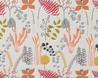 Scandi Fabric- Boho Fabric- Red- Grey- Fabric Per metre- Botanical Fabric- Woodland- Leaves- Natural- Scandinavian- Scandi style- modern