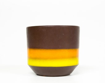 Reserved for Zeinab-Retro flower pot ceramic-Vintage interior design-Brown with orange and yellow