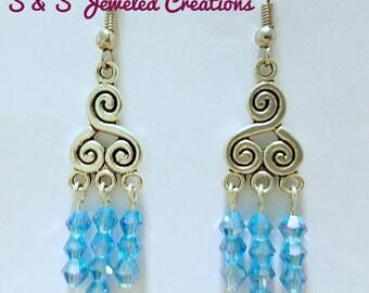 Azure Blue/Lake Blue Chandelier Earrings