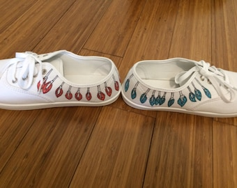 Handmade feather designed shoes red/blue