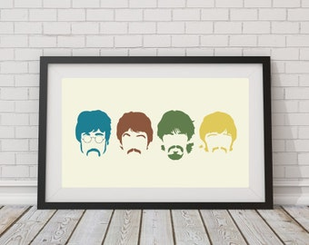 LARGE SIZE Beatles Silhouette Retro Print, Retro Poster / Big Beatles Poster / Beatles Print