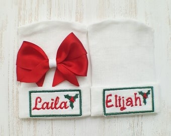 Twin hospital hats- Christmas twins, baby hats, newborn beanies, newborn hospital hats, twin hat set