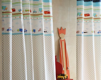 Star, Dot and Cars Kids Curtains, Kids Panels, Kidsroom Curtain, Children Curtains, Nursery and Baby Curtains, Boys Curtain, Curtain Panels