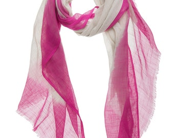 Ombre Cotton Scarf - Fuchsia, Quality, Hand-Dyed, Pink, Tie-Dye, Stunning, Unique, Trending, Scarves, Colouful, Detail, Color, Fashion, C370