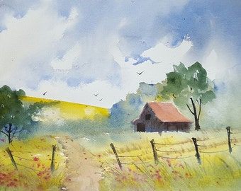 Giclee Print - Watercolor Painting of Barn