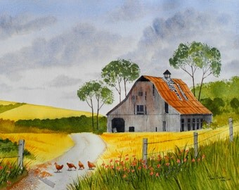 Giclee Print - Watercolor Painting of Barn and Chickens