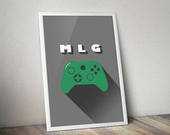 Tech. MLG Gaming Poster 24x36 // Gaming Art // Dorm Decor // Gaming // arcade art // teen gift // video game controller // Birthday Gift