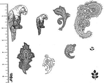 Parrots & Paisley - 7 Unmounted Rubber Stamps + extra images