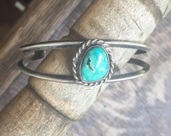 Turquoise Sterling Silver Vintage Cuff Made in Mexico