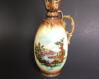 Vintage Ornate Pictorial Pitcher Made In Czechoslovakia