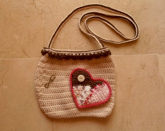 Bag with heart patchwork