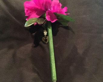 Purple flower pen with jewel heart dangle