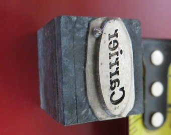Vintage Zinc/Lead printing block- letterpress- Carrier logo