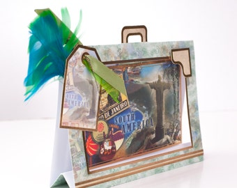 vintage briefcase style handmade card