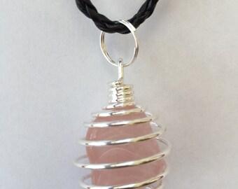 Rose quartz coiled pendant