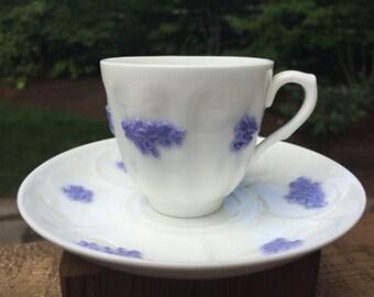 Vintage demitasse white with periwinkle floral pattern