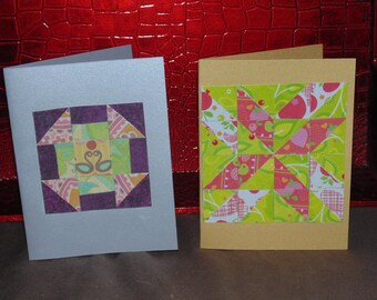 paper mosaic cards quilt cards,set of 2 blank notecards