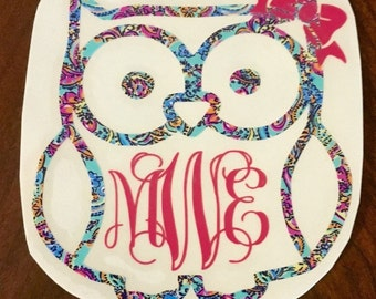 Lilly inspired owl with vine monogram