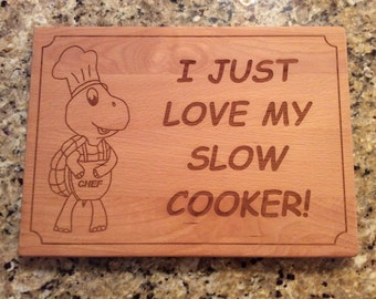 Slow Cooker Cutting Board, Whimsical Cutting Board, Laser Engraved Cutting Board